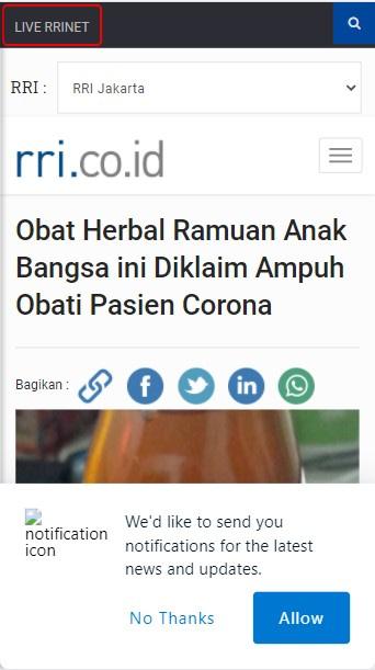 Berita RRI Probiotik Corona Ampuh