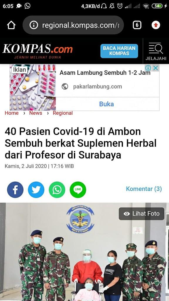 Berita Probiotik Covid-19 Ambon